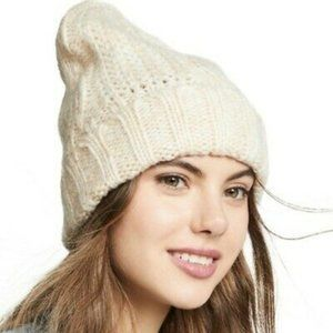 Free People Ivory Harlow Cable Knit Beanie Hat NWT